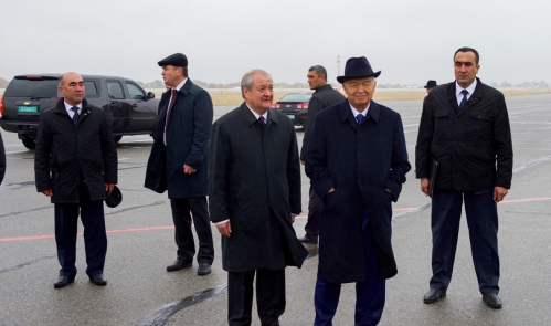 President Karimov and Foreign Minister Kamilov of Uzbekistan at Samarkand International Airport as Secretary Kerry Arrives for the C5+1 Meeting by U.S. Department of State